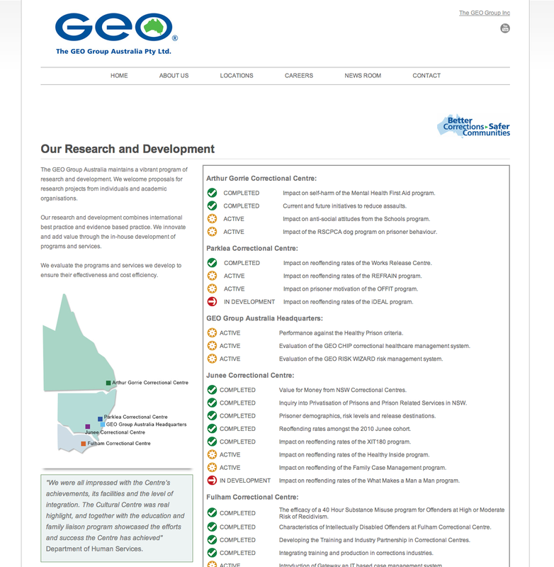 GEO Group Australia research projects website page