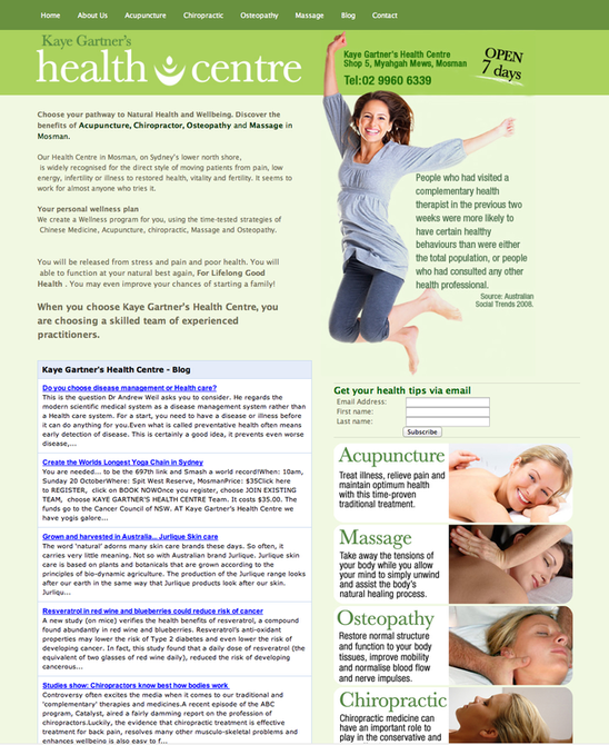 Natural Health Centre Website Deisgn